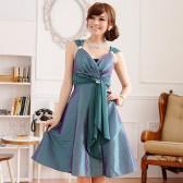 9506绿  晚宴华丽美胸瘦腰V领钻石扣吊带礼服连衣裙(钻石可拆,配裹胸)