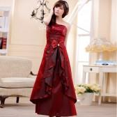 9202酒红色 雍容华贵时尚单肩亮片压叠花长版晚礼服连衣裙