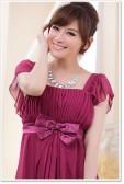9303紫红色 超仙显瘦收腰优雅公主姐妹荷叶袖礼服连衣裙