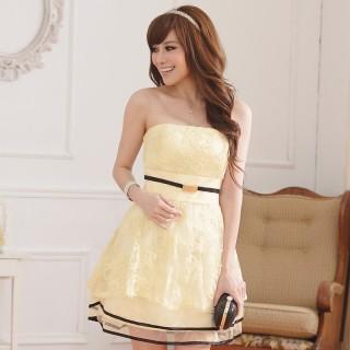 9107香槟色 巴黎公主锈花蕾丝卷边灯笼摆末胸姐妹礼服连衣裙(送隐形带)