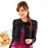 9715黑色 婚纱礼服披肩开衫胖MM小外套短衫蕾丝花边高雅上衣