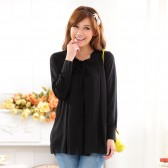 9621黑色 韩版宽松休闲舒适针织雪纺大码打底衫套头长袖衬衫大摆长上衣