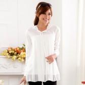 9621白色 韩版宽松休闲舒适针织雪纺大码打底衫套头长袖衬衫大摆长上衣