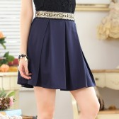 9644深蓝色  韩版百搭钉珠高雅百褶中裙大码单裙