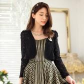 9738黑色   韩版甜美蕾丝长袖开衫百搭小外套大码礼服披肩