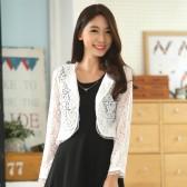 9646白色  韩版百搭小开衫长袖短款蕾丝小坎肩大码小披肩短外套上衣