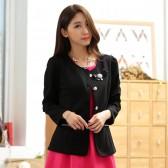 9741黑色 韩版修身小西装短外套单排扣百搭长袖休闲大码短外套(送可拆胸花)