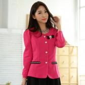 9741梅红色  韩版修身小西装短外套单排扣百搭长袖休闲大码短外套(送可拆胸花)