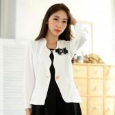 9740白色 韩版职业小西装长袖修身百搭短外套单扣大码小外套(送可拆胸花)