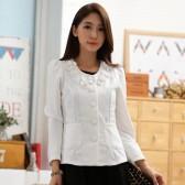9742白色 韩版秋装单排扣百搭短外套优雅围领花长袖大码上衣小外套