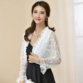 9745白色 韩版百搭防晒四季长袖薄款开衫镂空蕾丝大码小外套披肩