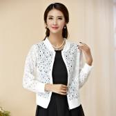 9748白色 经典黑白色百搭衫长袖拉链开衫薄款镂空大码上衣披肩礼服衫