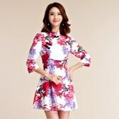 9952红色   复古唐装旗袍长袖包扣中裙大码立领文艺连衣裙