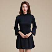 9956款黑色  复古优雅晚会唐装大码旗袍显瘦短款七分袖小礼服