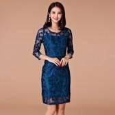 9966藏青色  气质修身韩版大码女装网纱绣花中长款连衣裙九分袖打底裙宴会裙显瘦