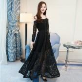 9892黑色  复古高端蕾丝晚宴长裙修身长袖吊带露肩大码性感礼服欧式连衣裙