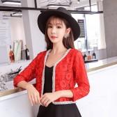 9685红色  名媛淑女九分袖短款蕾丝小外套开衫防晒大码披肩外搭