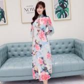 9978款牡丹  国色牡丹花旗袍中国风中袖长款印花雪纺大码连衣裙
