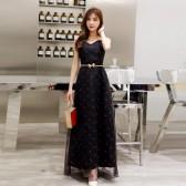 6603黑色  时尚红唇印象抹胸露肩网纱显瘦加大码长款晚礼服裙(送腰带)