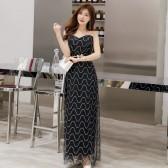 6604黑色  时尚高贵网纱珠片抹胸V领大码礼服裙胖M显瘦长款连衣裙(送腰带)