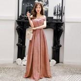 9690绯红色 高贵显瘦名媛V领大码晚礼服长款表演年会女装连衣裙主持人闪亮