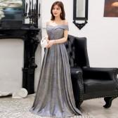 9690灰蓝色  高贵显瘦名媛V领大码晚礼服长款表演年会女装连衣裙主持人闪亮