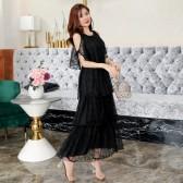 9983款 白色 新款欧美风长黑裙显瘦蛋糕公主裙大码晚礼服长款女裙