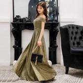 9690款金色  高贵显瘦名媛V领大码晚礼服长款表演年会女装连衣裙主持人闪亮