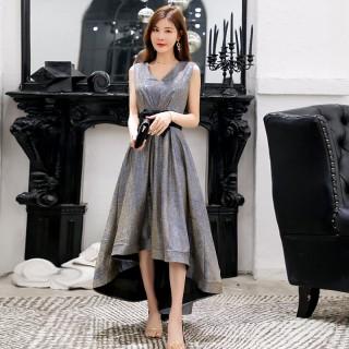9691款 灰蓝色  公主名媛高雅气质燕尾晚礼服显瘦姐妹礼服裙