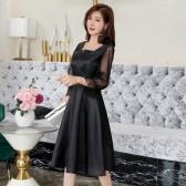9981款 黑色 新款洋装晚礼服聚会毕业季主持中袖A字中裙