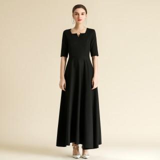 6609款黑色  中袖大摆优雅宴会晚礼服日常聚会长款连衣裙