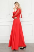 9696# 红色 长袖魅惑蕾丝宴会优雅气质长礼服主持长裙