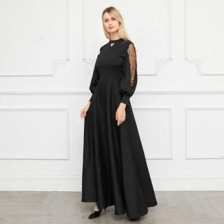 9696#  黑色 长袖魅惑蕾丝宴会优雅气质长礼服主持长裙
