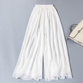 9986白色  中式高腰垂坠阔腿裤雪纺松紧腰凉快中长大码瑜伽女裤禅服