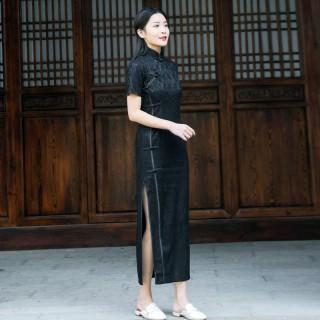 9988款黑色  改良版年轻气质短袖长款大码中国风旗袍