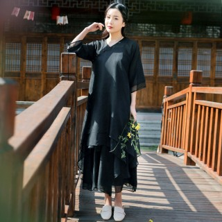 98586黑色  休闲中国风禅意汉服宽松连衣裙三件套(连衣裙+阔腿裤+小吊带)