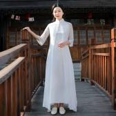 9987 黑色  中式夏装改良中国风复古禅服长款大码假两件套短袖连衣裙
