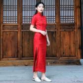 9988款红色  改良版年轻气质短袖长款大码中国风旗袍