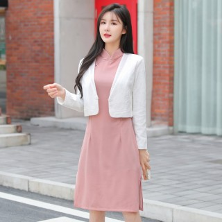 9698#白色    时尚礼服领百搭复古中国风长袖小外套大码礼服上衣